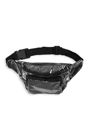 Clear Fishnet Fanny Pack,BLACK,large