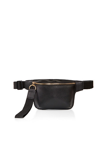 Faux Saffiano Leather Fanny Pack,BLACK,large