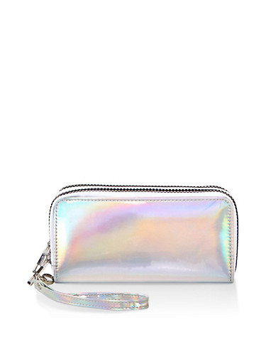 Double Zip Holographic Wallet,SILVER,large