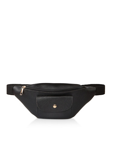 Front Pocket Fanny Pack,BLACK,large