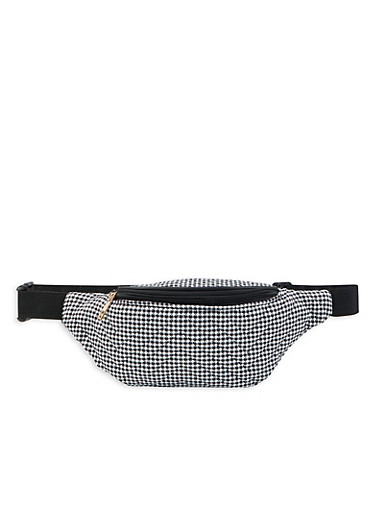 Quilted Houndstooth Fanny Pack,BLACK,large