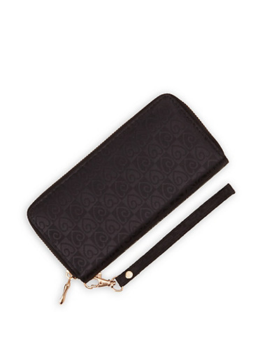 Heart Print Wallet,BLACK,large