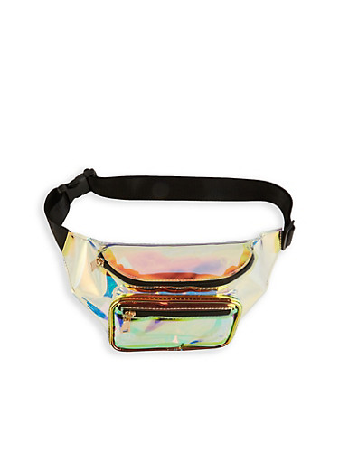 Iridescent Clear Double Zip Fanny Pack,MULTI COLOR,large