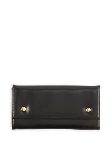 Faux Leather Two Button Wallet,BLACK,large