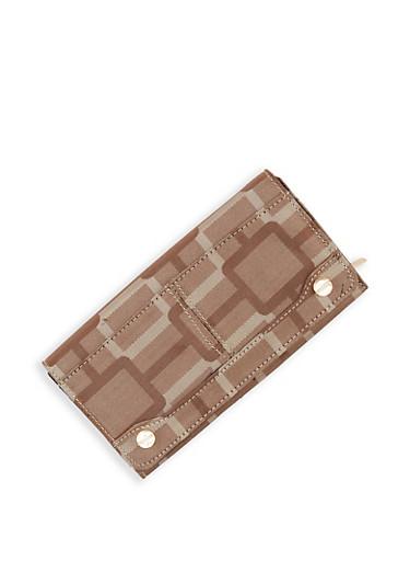 Geometric Print Flap Wallet,BROWN,large