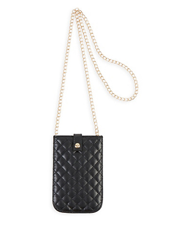 Quilted Chain Strap Crossbody Bag,BLACK,large