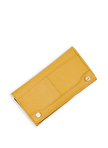 Solid Flap Wallet,MUSTARD,large