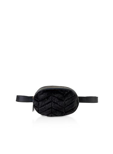 Faux Fur Oval Belt Bag,BLACK,large