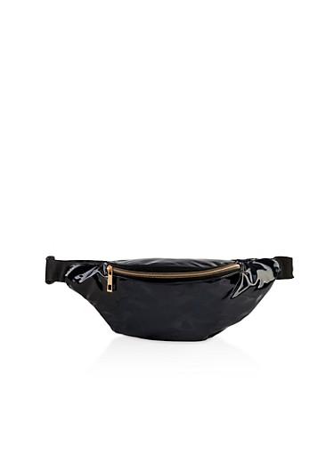 Double Zipper Holographic Fanny Pack,BLACK,large
