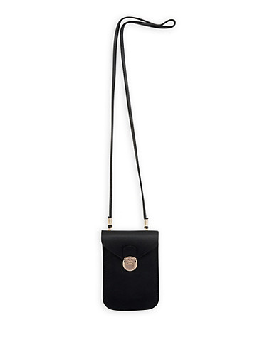 Textured Faux Leather Crossbody Cell Phone Pouch,BLACK,large