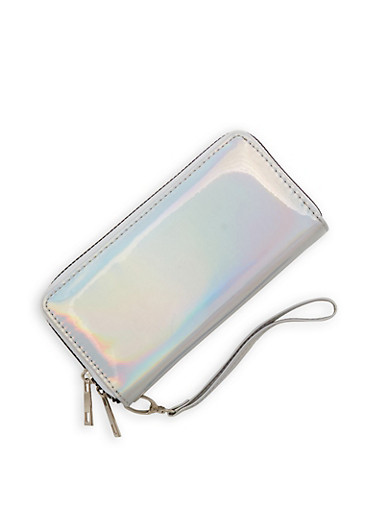 Faux Patent Leather Double Zip Wallet,SILVER,large