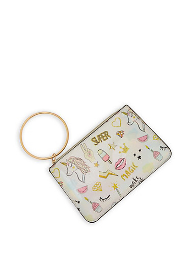 Iridescent Unicorn Graphic Clutch,SILVER,large