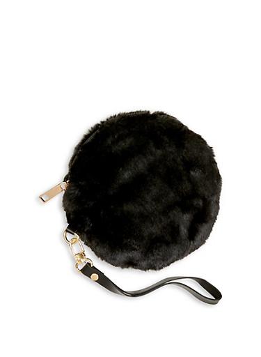 Round Faux Fur Wristlet,BLACK,large