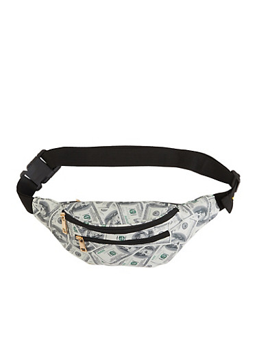 Money Print Fanny Pack,WHITE,large