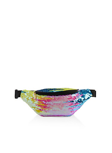 Reversible Sequin Single Zip Fanny Pack,YELLOW,large