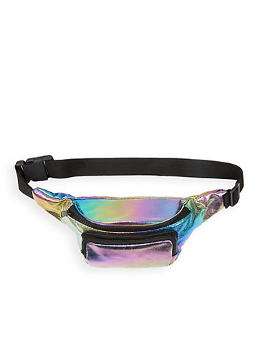 Iridescent Double Zip Fanny Pack,MULTI COLOR,large