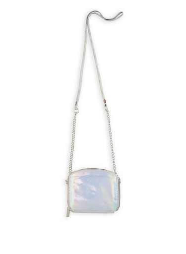 Mini Holographic Crossbody Bag,SILVER,large