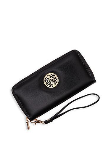 Metallic Detail Zip Around Wallet,BLACK,large