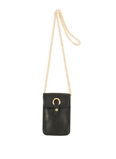 Metallic Ring Detail Crossbody Bag,BLACK,large