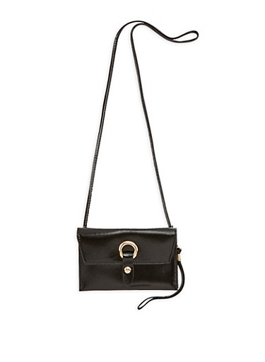 Faux Leather Metallic Ring Snap Closure Clutch,BLACK,large