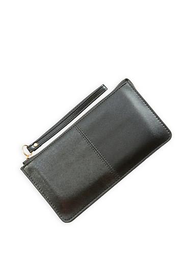 Faux Leather Zip Wristlet,BLACK,large