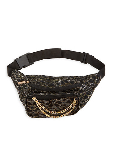 Metallic Lace Clear Fanny Pack,BLACK,large