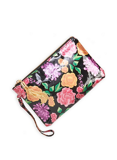 Floral Clutch with Tassel,BLACK PATENT,large