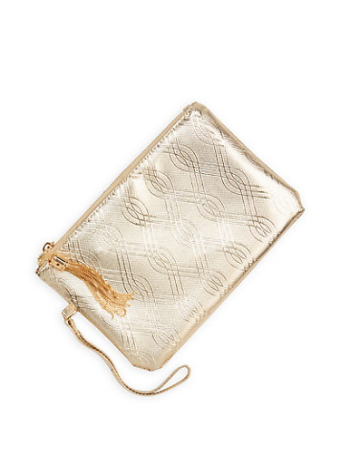 Patterned Faux Leather Clutch - 1126067448032