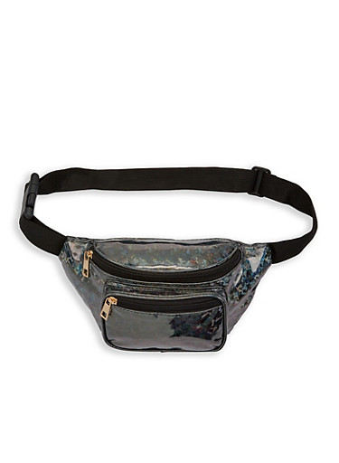 Holographic Faux Leather Fanny Pack,BLACK,large