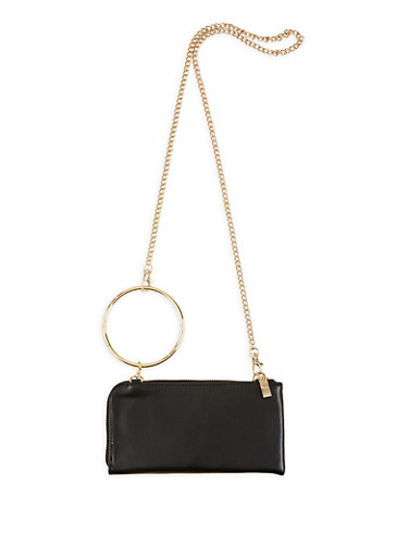 O Ring Faux Leather Crossbody Wallet,BLACK,large