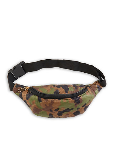 Quilted Camo Fanny Pack,GREEN,large