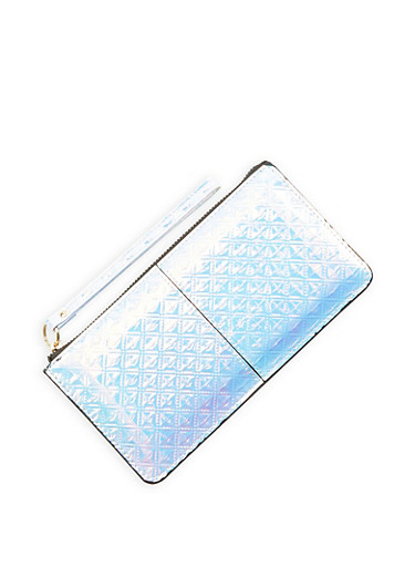 Iridescent Faux Leather Zip Wristlet,SILVER,large