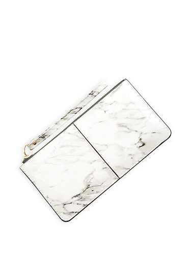 Marble Faux Patent Leather Zip Wristlet,WHITE,large