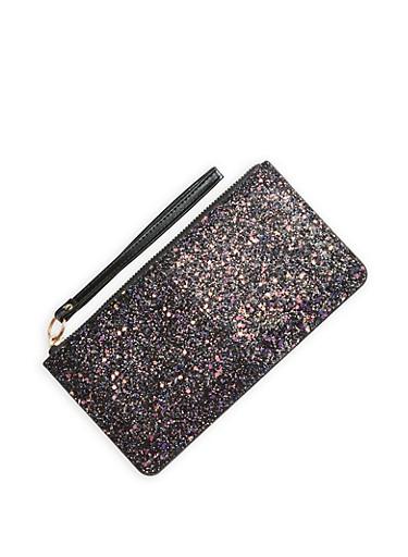 Glitter Faux Leather Zip Wallet,BLACK,large