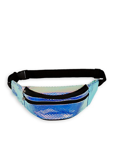 Iridescent Textured Fanny Pack,SILVER,large