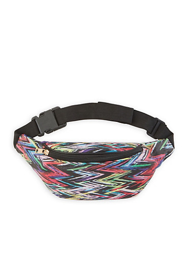 Zig Zag Print Fanny Pack,BLACK,large