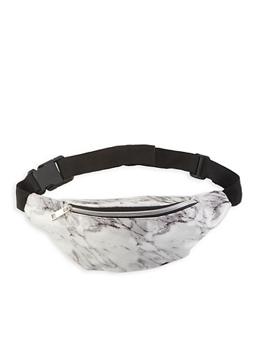 Marble Print Faux Patent Leather Fanny Pack,WHITE,large