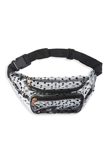 Clear Polka Dot Fanny Pack,BLACK,large