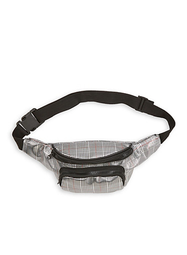 Plaid Fanny Pack,SILVER,large