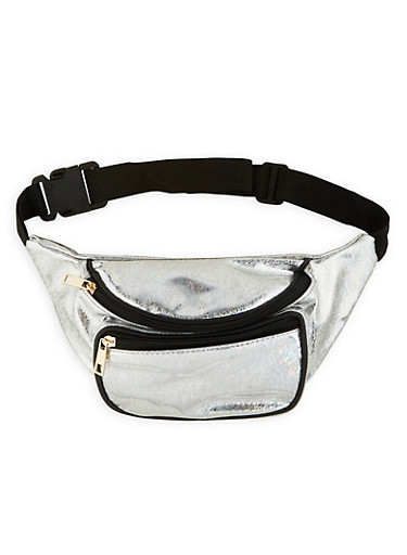 Holographic Print Fanny Pack,SILVER,large