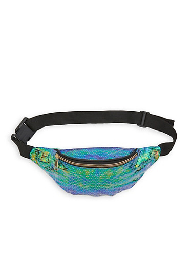 Holographic Printed Fanny Pack,GREEN,large