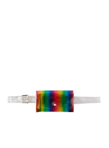 Clear Rainbow Belt Bag,MULTI COLOR,large