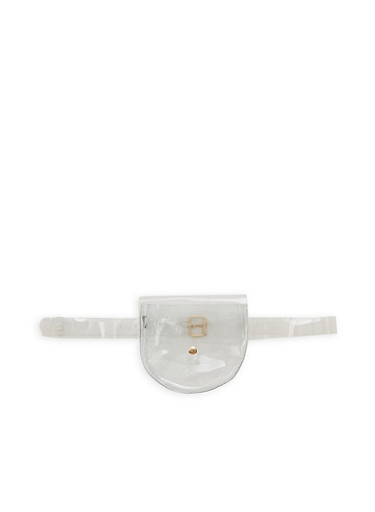 Clear Belted Saddle Bag,CLEAR,large