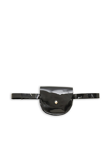 Mini Belted Jelly Saddle Bag,BLACK,large
