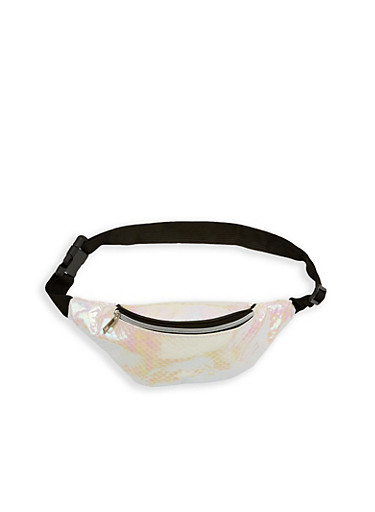 Holographic Scale Fanny Pack,WHITE,large