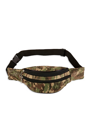 Camo Canvas Fanny Pack,CAMEL,large