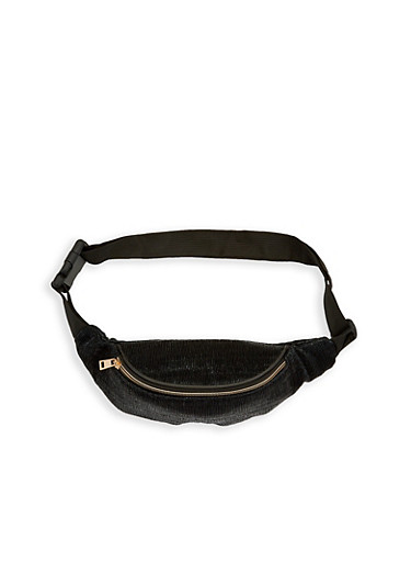 Textured Fanny Pack,BLACK,large