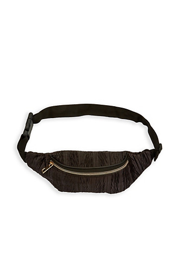 Crinkled Fanny Pack,BLACK,large