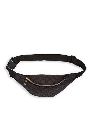 Quilted Puffer Fanny Pack,BLACK,large