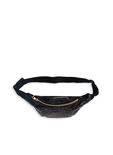 Polka Dot Faux Leather Fanny Pack,BLACK,large